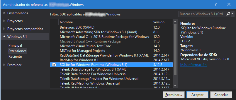 SQLite for Windows Runtime (Windows 8.1)